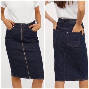 H & M Denim Zip Front Blue Jean Pencil Skirt